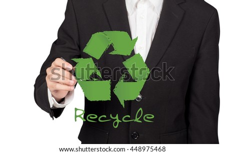 businessman drawing RECYCLE sign - stock photo