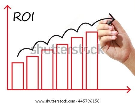 Businessman drawing ROI Graph on virtual screen. Business, banking, finance and investment concept.
