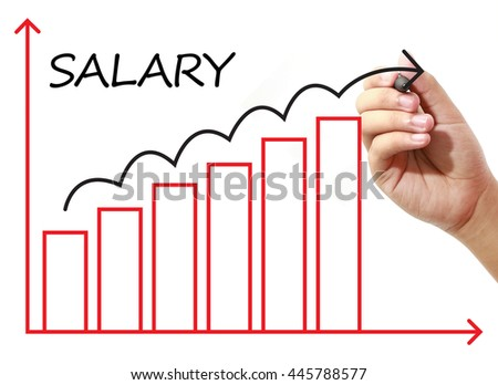 Businessman drawing SALARY Graph on virtual screen. Business, banking, finance and investment concept.