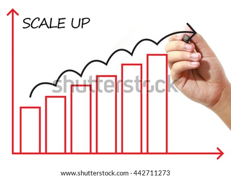 Businessman drawing SCALE UP Graph on virtual screen. Business, banking, finance and investment concept.