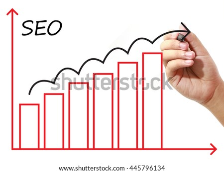 Businessman drawing SEO Graph on virtual screen. Business, banking, finance and investment concept. - stock photo