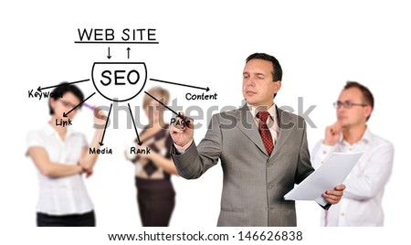 businessman drawing seo scheme on a board invisible
