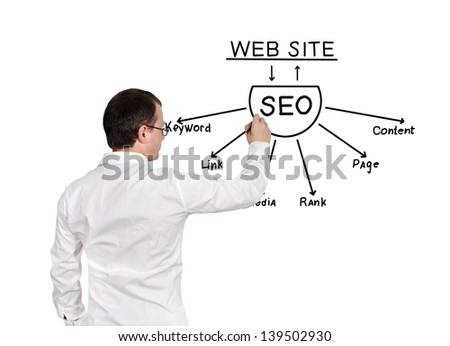 businessman drawing seo scheme on a white background