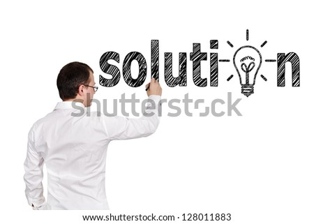 businessman drawing solution symbol on a white background
