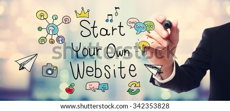 Businessman drawing Start Your Own Website concept on blurred abstract background  - stock photo