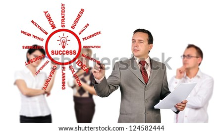 businessman drawing success scheme concept