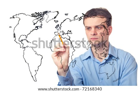 Businessman drawing the map of world on white background - stock photo