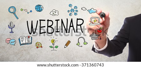 Businessman drawing Webinar concept with a marker