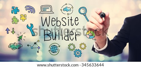 Businessman drawing Website Builder concept on blurred abstract background   - stock photo