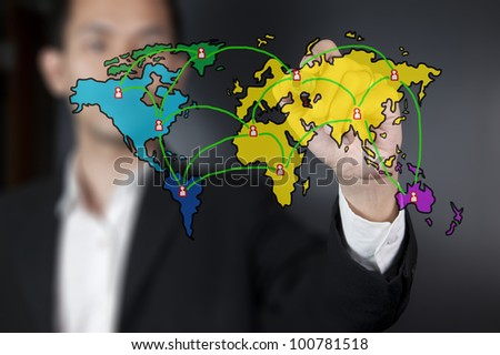 Businessman drawing world map social network - stock photo