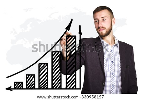 Businessman draws a graph