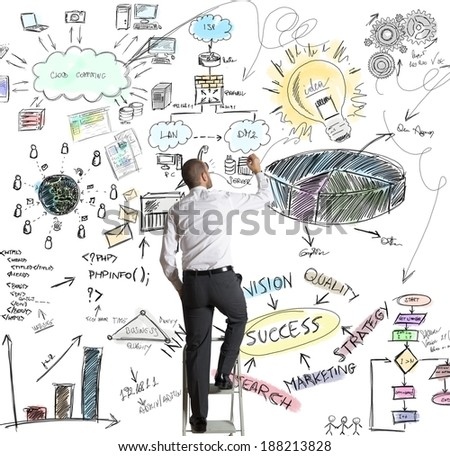 Businessman draws a new creative business project - stock photo