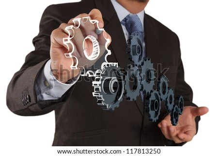 businessman draws gear to success concept on white background - stock photo