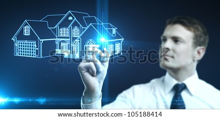 businessman draws house picture, concept  real estate - stock photo