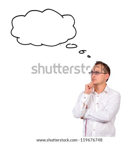 businessman dreaming on white background