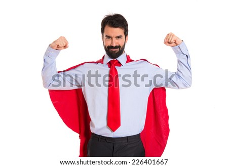 Businessman dressed like superhero proud of himself