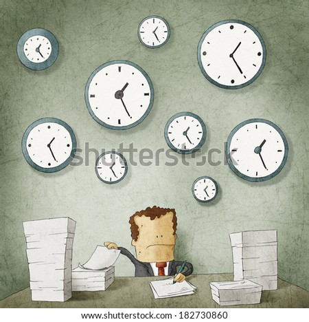 Businessman drowning in paperwork. Clocks on wall - stock photo
