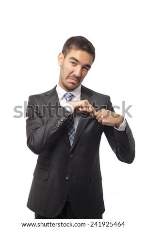 Businessman earning money - stock photo