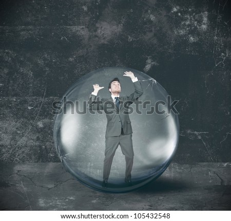 Businessman entrapped in its problems - stock photo