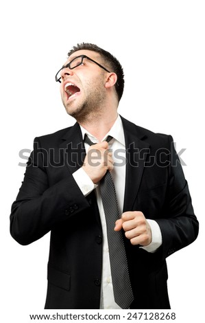 Businessman exhausted because of stress and bad news. - stock photo
