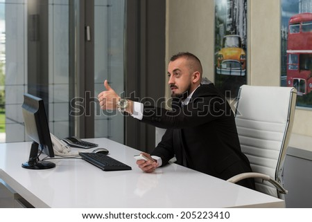 Businessman Exited With Thombs Up
