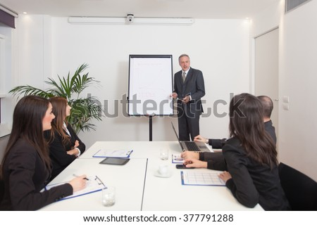 Businessman explaining a strategy - stock photo