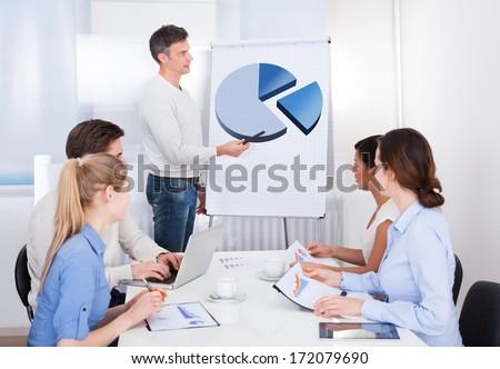 Businessman Explaining Pie Diagram On Flipchart To Business Colleagues - stock photo