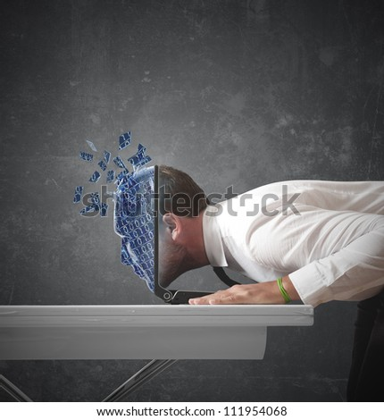 Businessman explorers the digital world - stock photo