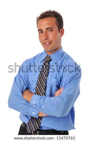 Businessman expressing confidence against a white background - stock photo