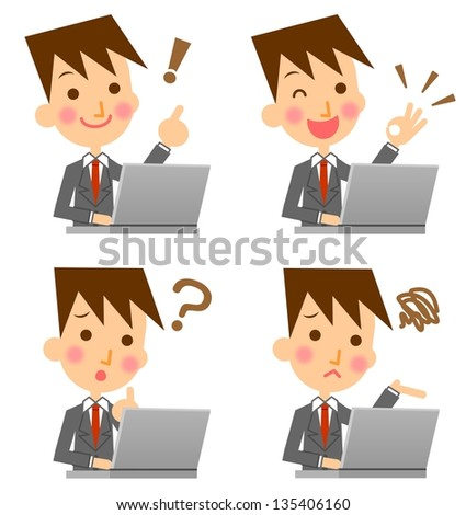 Businessman expression PC - stock photo
