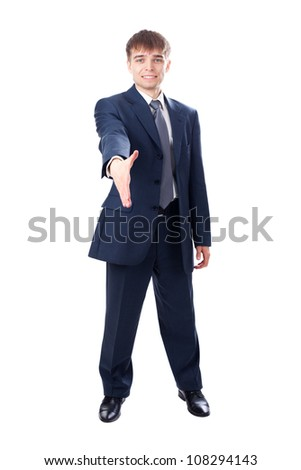 businessman extending hand to shake isolated on white background