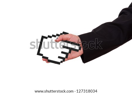 Businessman extends hand to shake with black pixel mouse cursor, pointer, isolated on white background. - stock photo