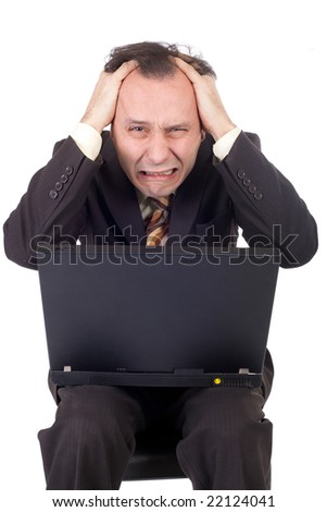 businessman failure receiving bad news using computer
