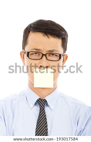 businessman feel helpless expression and sticker