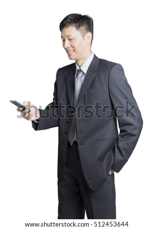 businessman feel satisfied after finished talking on the phone