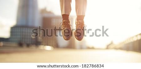 businessman feet jumping concept series - stock photo