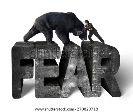Businessman fighting against black bear on 3d fear mottled concrete word with white background - stock photo