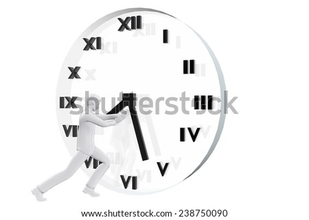 Businessman fighting against time - stock photo