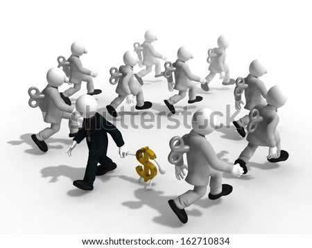 Businessman find new road  to success by going on different way - stock photo