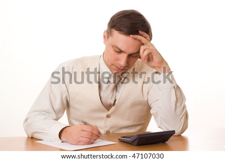 businessman finds a table on a white background