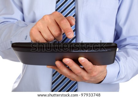 Businessman finger pointing to the screen of a tablet-pc - stock photo