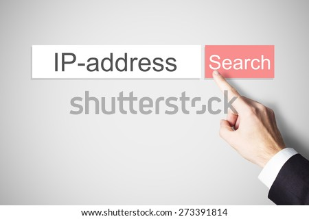 businessman finger pressing red search button ip address - stock photo