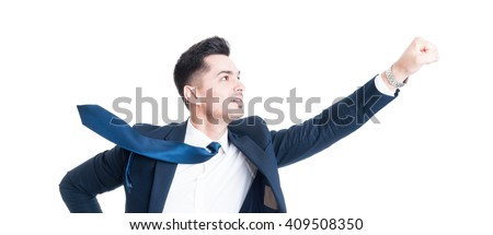 Businessman flying gesture with necktie blowing. Business superhero concept isolated on white background - stock photo