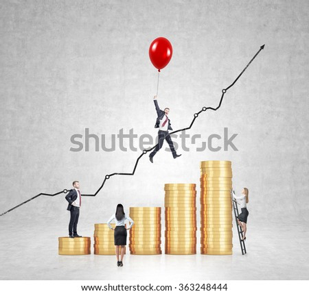 Businessman flying on red baloon over bar chart made of coins, another man standing on the lowest bar, woman climbing a ladder, another woman looking at them. Concrete background. Concept of success. - stock photo