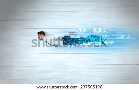 Businessman flying super fast with data numbers left behind concept - stock photo