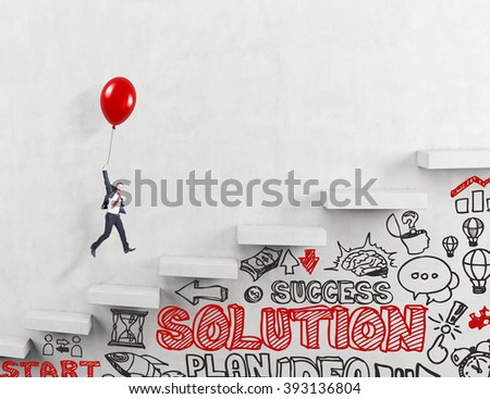 Businessman flying upstairs on red balloon, business icons and words under it. Concrete background. - stock photo