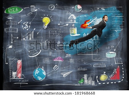 Businessman flying with rocket backpack trough business strategy - stock photo