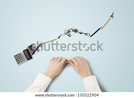 businessman folded schedule of everyday items - stock photo