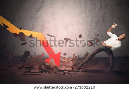 Businessman frightened by a stats sudden collapse - stock photo