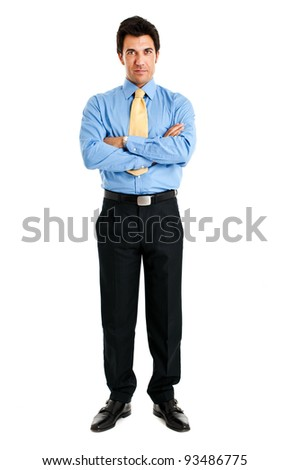 Businessman full length isolated on white with folded arms